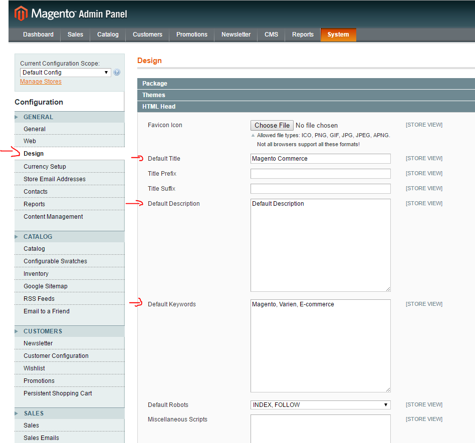 magento-system-configuration-design-default-title-description-keywords